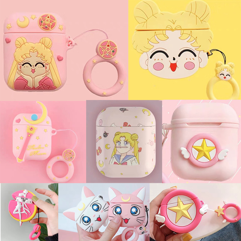 For AirPods Case Kawaii Sailor Moon Luna Cat Earphone Cases For Apple Airpods 1 2 Protect Cover With Finger Ring Strap Pink