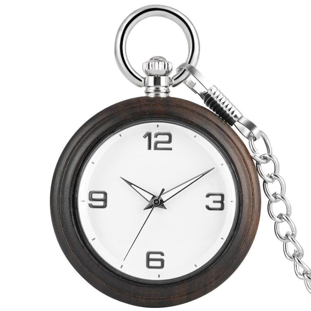 Durable Ebony Large Women Pocket Watch Woman Necklace Simple Dial Premium Alloy Rough Chain Pendant Necklace Watches Zakhorloge