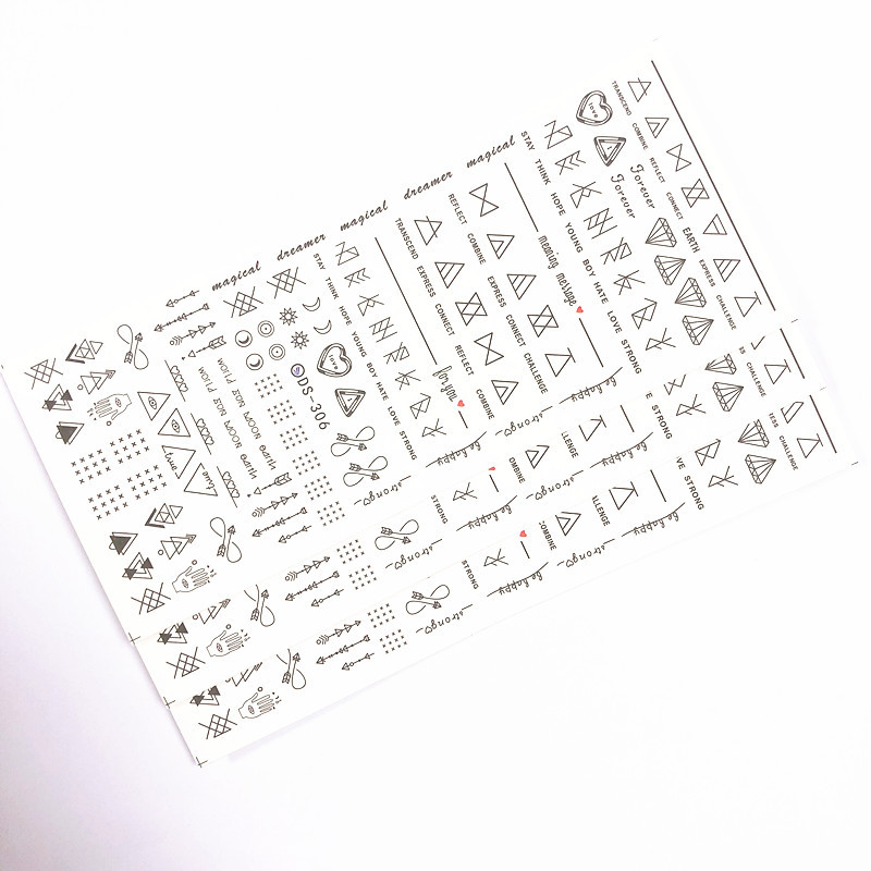 Nail Sticker Watermarking Manicure Shi Pin Tie Black Letter Graphics Large Sheet Bare Clip Single Amazon Hot Sales