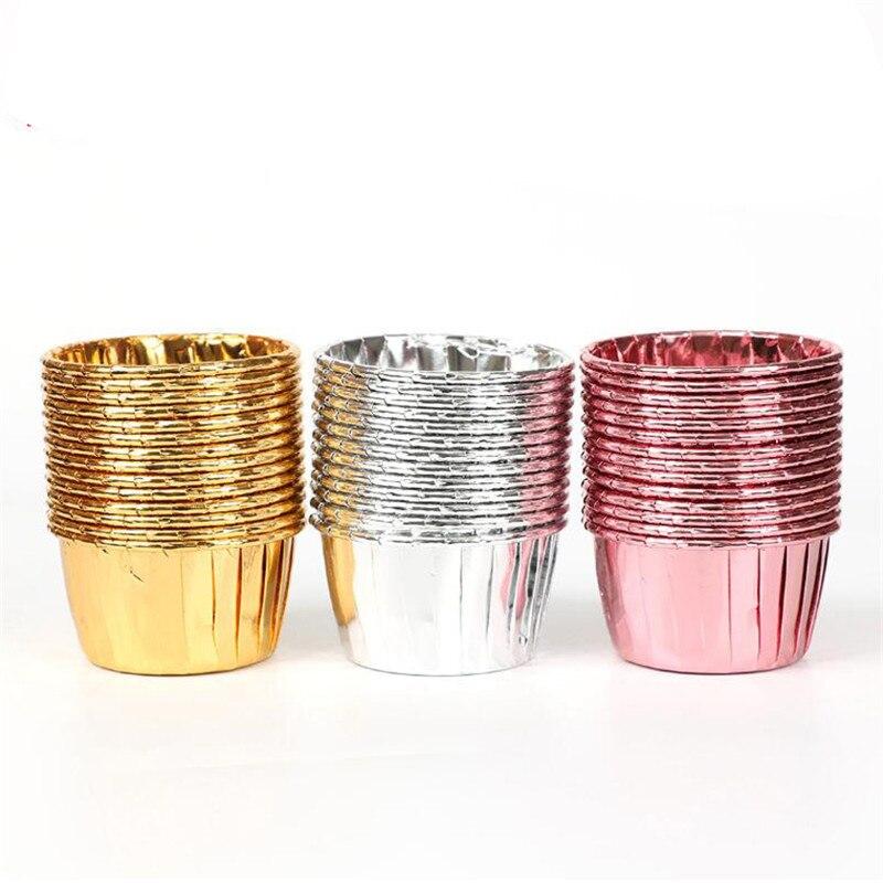 50 шт. бумажная чашка для кексов, маслостойкая оболочка для кексов, поднос, чехол для свадебных торжеств, золотистая обертка для кексов