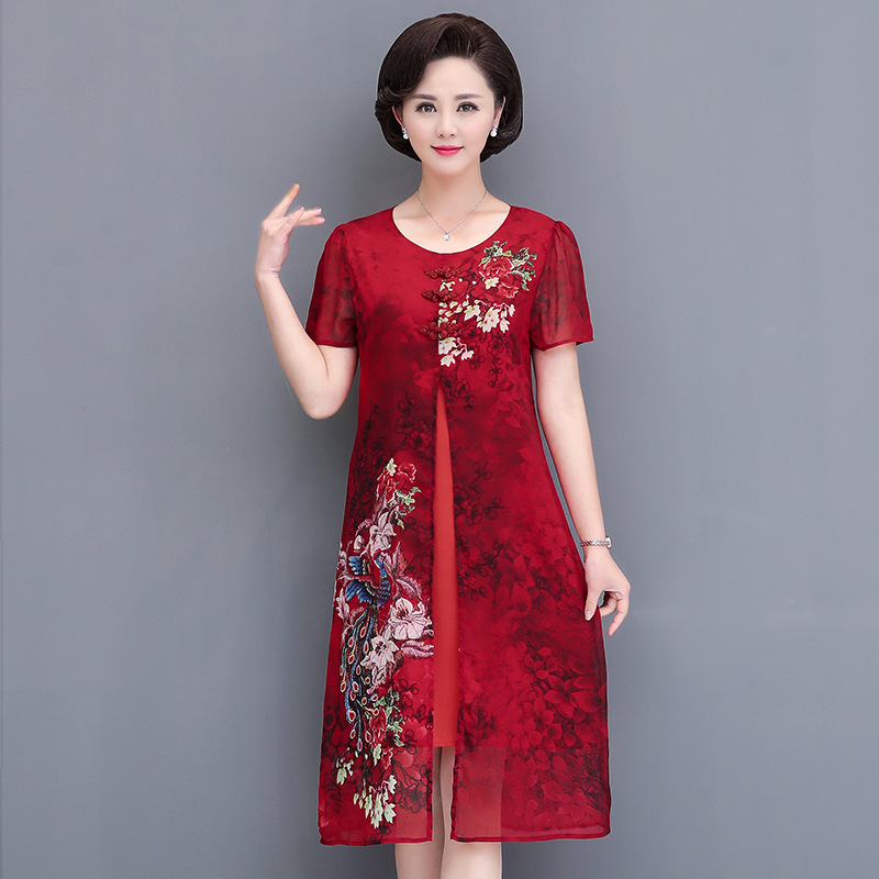 2019 New Style Middle-aged Women Dress Spring Summer Middle-aged 40-Year-Old 50 Printed Elegant Fashion Chiffon Skirt