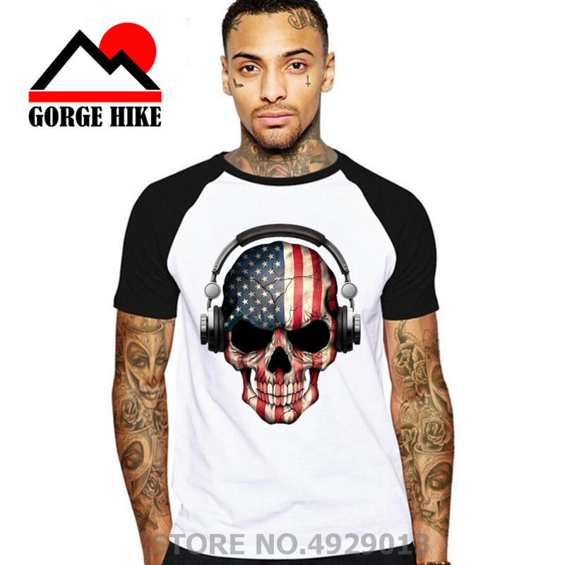 3D Dark Skull Deejay With American Flag Men's Sugar Skull T-shirt Short USA Nation Printed Pattern Fashion Slim Handsome Tattoo