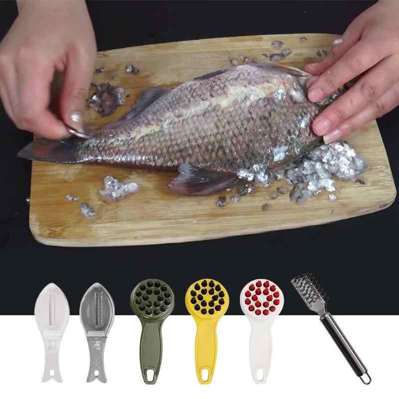 1PC di Plastica di Pesce Dispositivo di Raschiatura Strumento di Pulizia Pelle di Pesce Raschietto Peeler Remover Casa Cucina Strumenti di Cottura