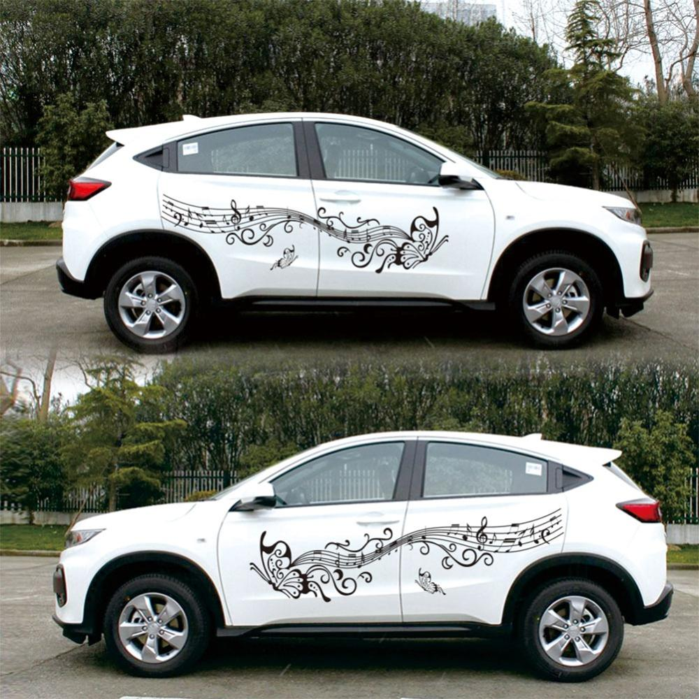 Car Stickers Butterfly Flower Totem Vehicle Body Side Skirt Styling Sticker Decals Butterfly & Flower Design For Car Decoration