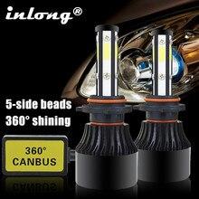 2 sztuk 5 stron 14000LM H7 LED reflektorów samochodu nie błąd H11 Led Canbus żarówki do reflektorów H4 H8 H9 9005 9006 100W samochodowe światła przeciwmgielne 12V 24V