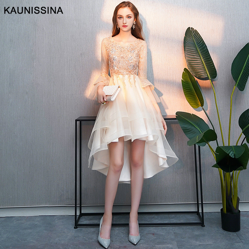 KAUNISSINA Luxury Appliques Cocktail Dresses Women Party Gowns Long Flare Sleeve Back Zipper Asymmetrical Herm Homecoming Dress