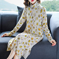autumn 2019 the new Korean version of mid-length printed pure wool cashmere sweater dress casual loose knit sweater dresses