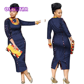 African Straight Cowboy Long Dresses Casual Bazin Riche Patchwork Cotton Dresses Traditional African Clothes for Women WY2847