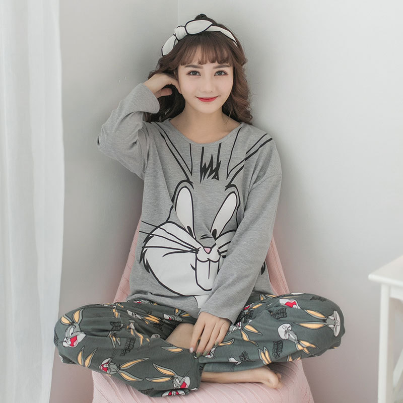 2 Pieces Cute Pajamas Set Pink Bugs Bunny Women Pajamas Spring Summer Long Sleeves Printing Pajamas Full Length Home Clothes
