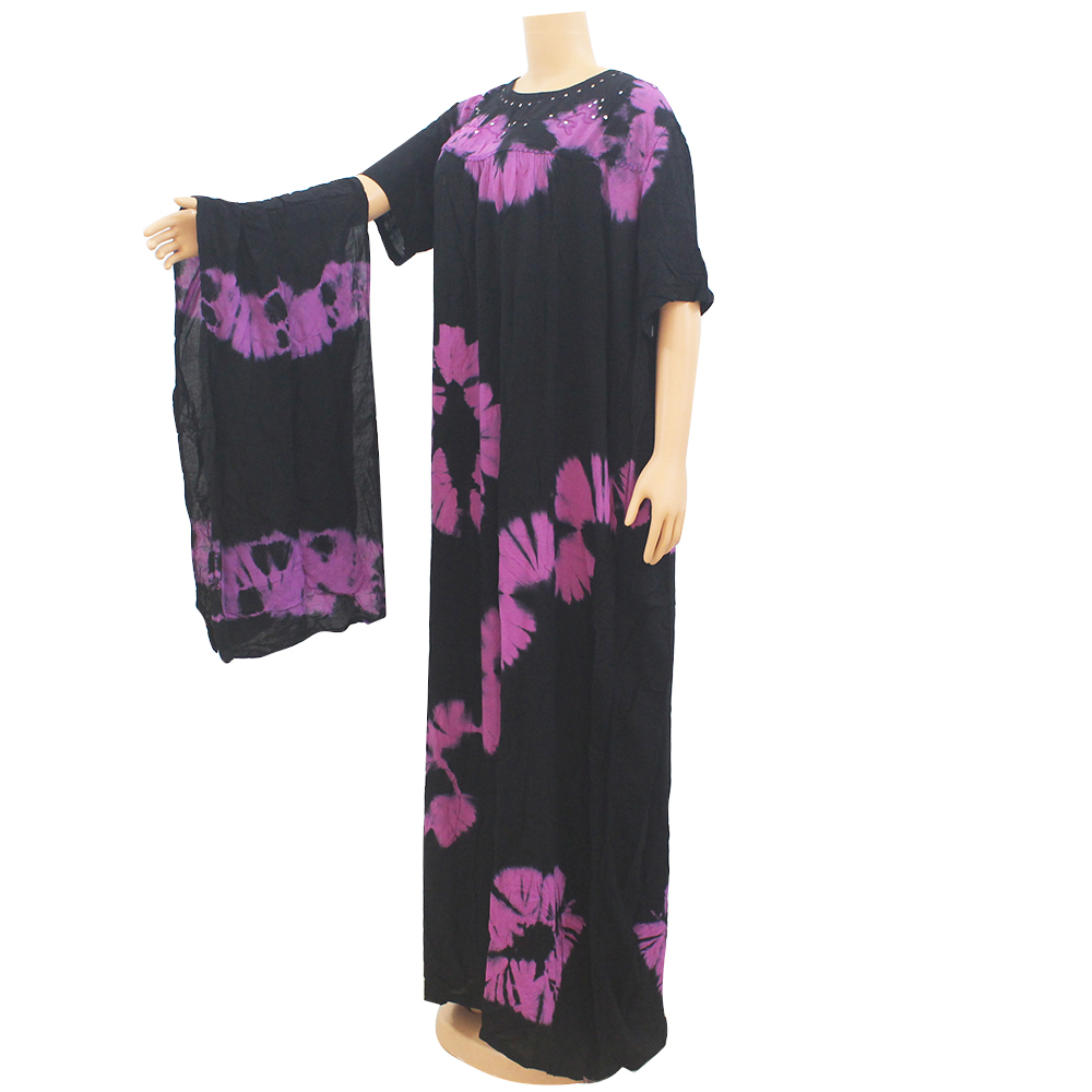 Dashikiage black cotton soft textured comfortable dress with a big scarf 7