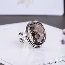 אותנטי טבעת כסף 925 טבעות מוגזמת סמוקי קוורץ פיאות טבעת נשים טבעי אבן פתיחת סוג תכשיטי יוקרה