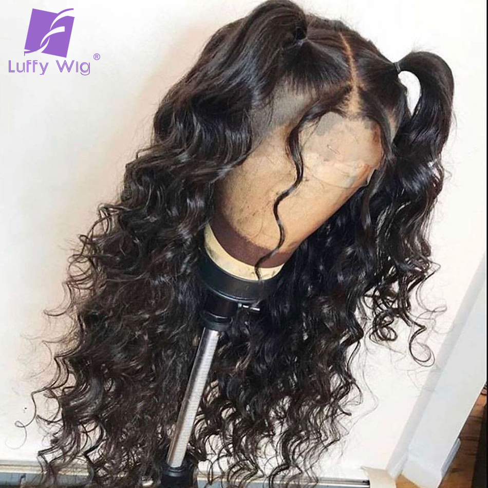 Glueless Lace Front Human Hair Wigs 13*6 PrePlucked Losse Wave Brazilian Remy 180 Density Bleached Knots For Women Luffy