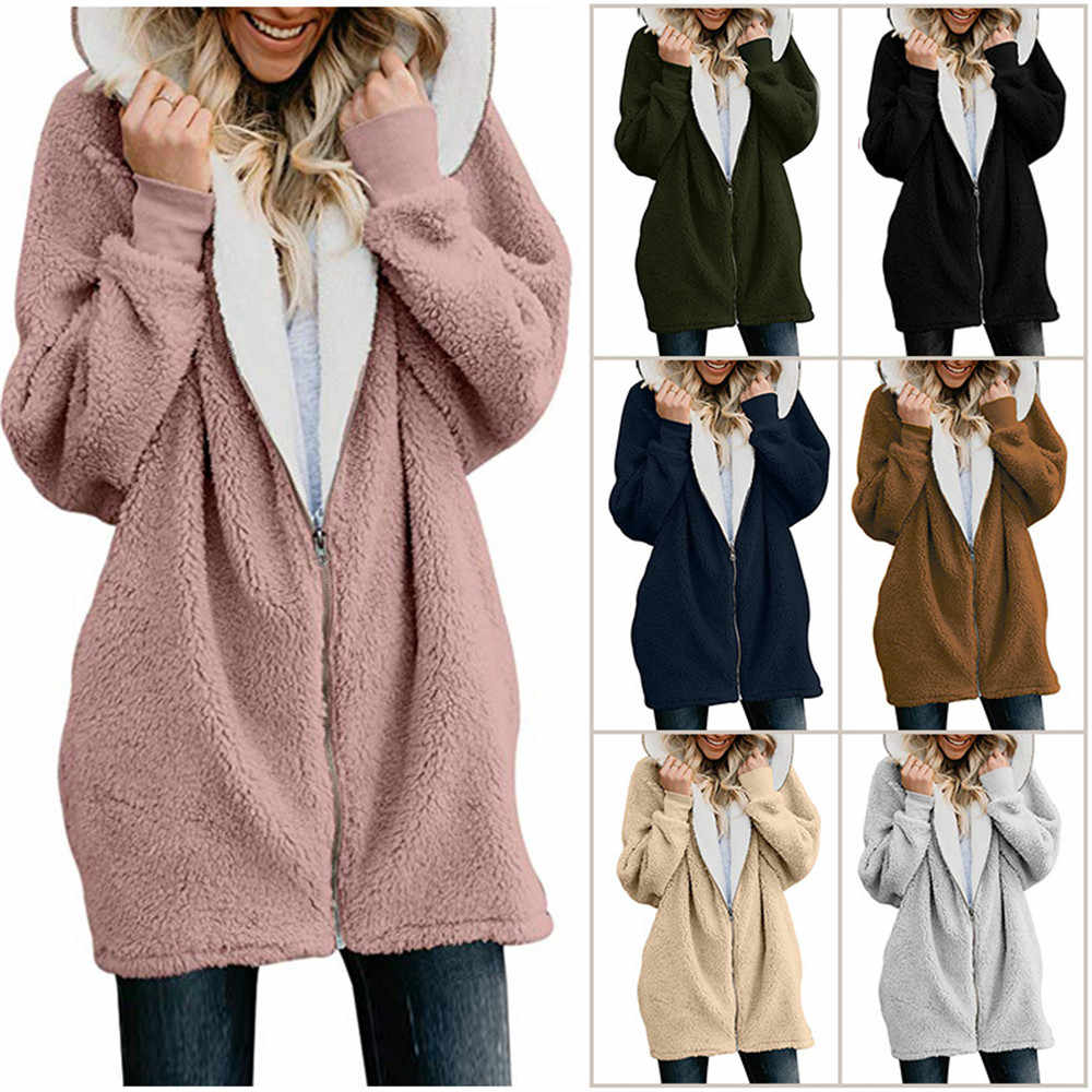 Wipalo Plus Size 5XL Women Autumn Winter Coat Hooded Pocket Zipper Fly Jacket Lamb Wool Long Sleeves Warm Coat Outwear 11 Colors