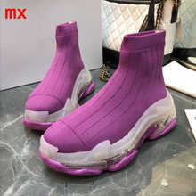 F.N. שקע אישה אתחול חורף מגפיים להחליק על נשים נעלי סניקרס לסרוג לנשימה גרב מגפי נעליים יומיומיות נשים Sneaker אתחול