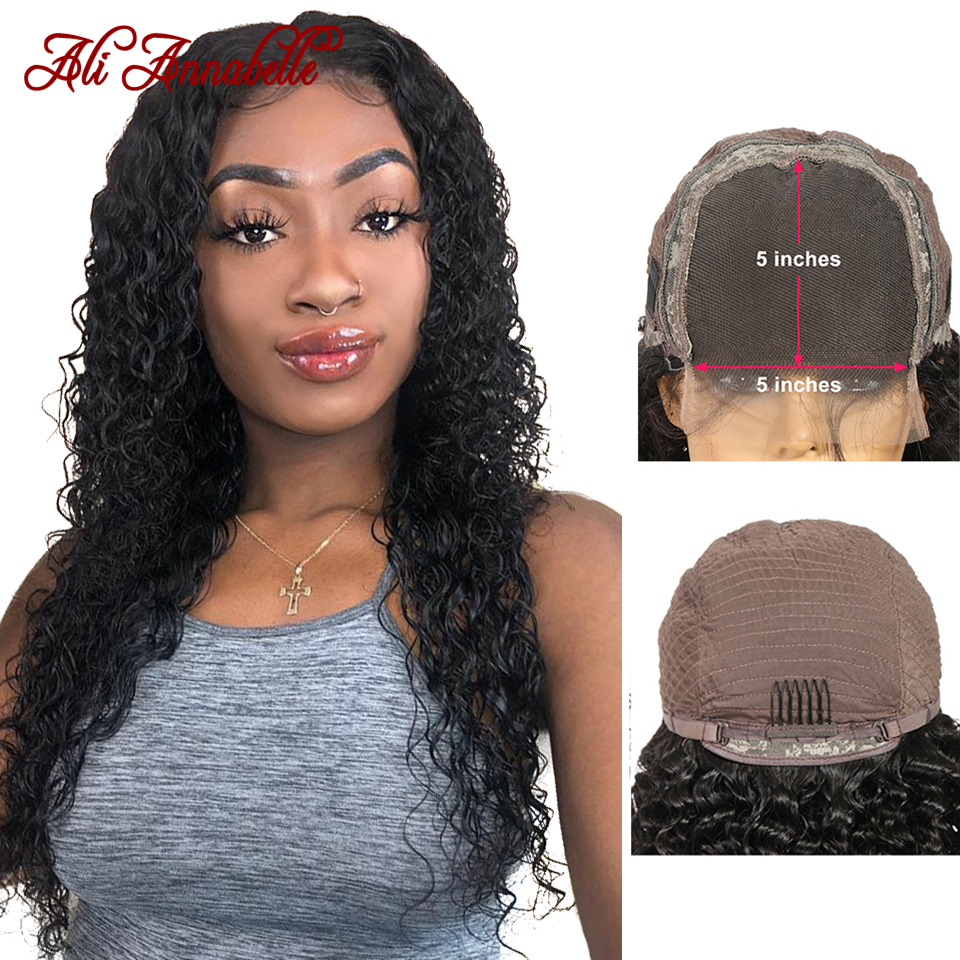 5*5 Human Hair Closure Lace Wigs Malaysian Curly Human Hair Lace Wig Pre Plucked Lace Closure Human Hair Wigs ALI ANNABELLE HAIR