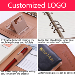 Image 5 - Business Meeting Record Loose Leaf Office Spiral Notebook Binder binding Buckle design PU line thickened Notepad Organizer A5 B5