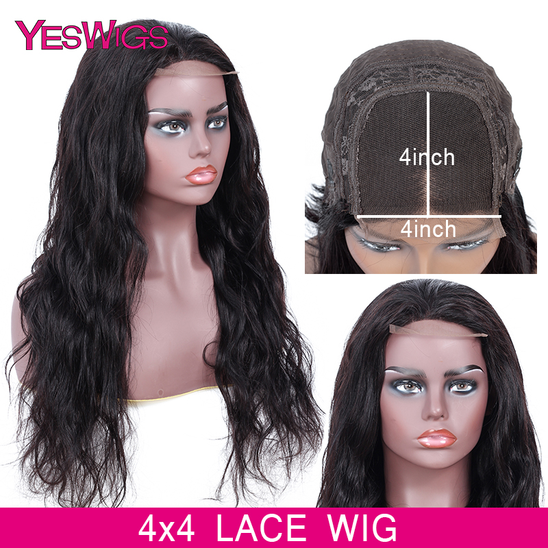 Yeswigs Lace Closure Wig Short Human Hair Wigs For Women 4x4 Closure Wig Indian Bodywave Wig Preplucked Swiss Lace