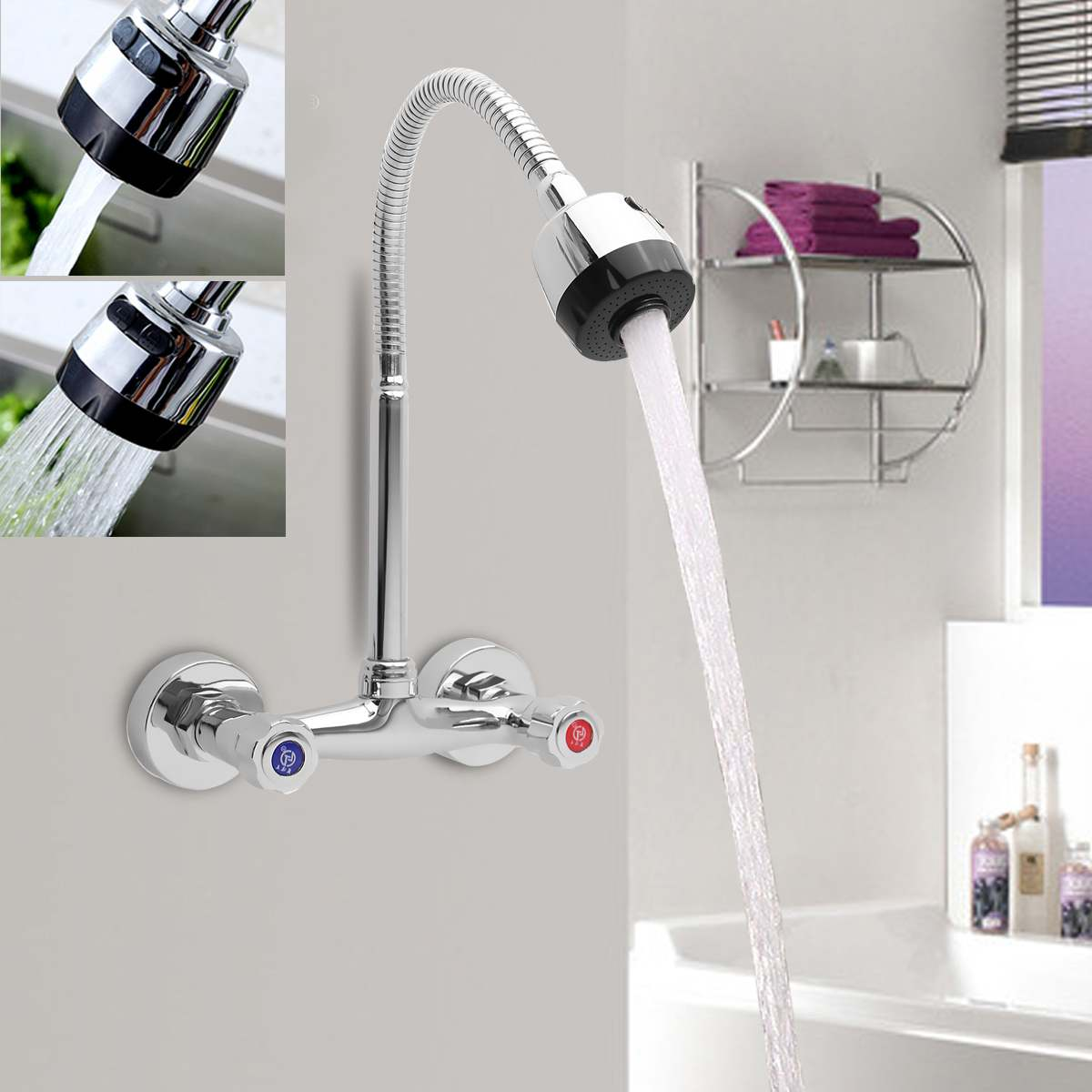 Xueqin 360Rotation Chrome Modern Dual Handle Mixer Tap Cold And Hot Water Wall Mounted Pull Down Kitchen Sink Spray Faucet
