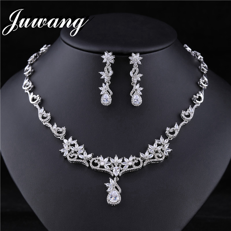 JUWANG Luxury Bridal <font><b>Jewelry</b></font> <font><b>Sets</b></font> <font><b>for</b></font> Woman Clear Big Rhinestone Water Drop Wedding Necklace <font><b>Set</b></font> Bisuteria Jewellery <font><b>2019</b></font> image