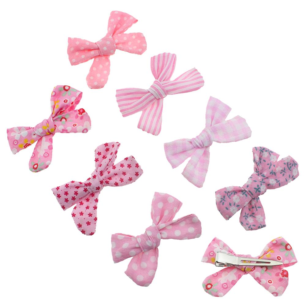2PCS/SET Clips Set Cotton Bow Hairpins Barrettes Hairclips Girls Headdress Kids Gift Photo Shoot Hair Accessory