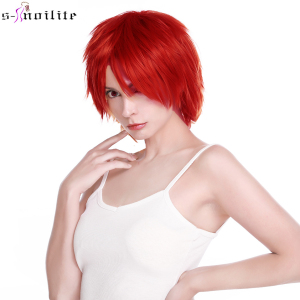 SNOILITE Short Cosplay Wig Red Pink Blue Brown White Grey Hair Wigs Synthetic Straight Costume Wig For Christmas Party