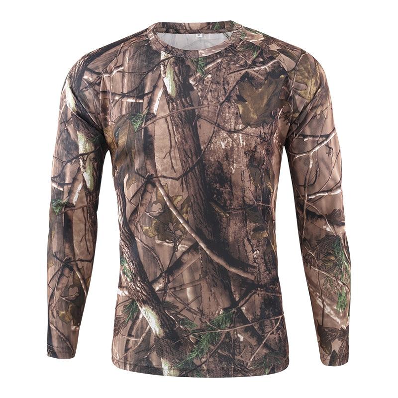 HEFLASHOR Men's Long Sleeve T-shirt Outdoor Camouflage T-shirt Quick-drying Camouflage Hunting Hiking Camping Men's Shirt 2019