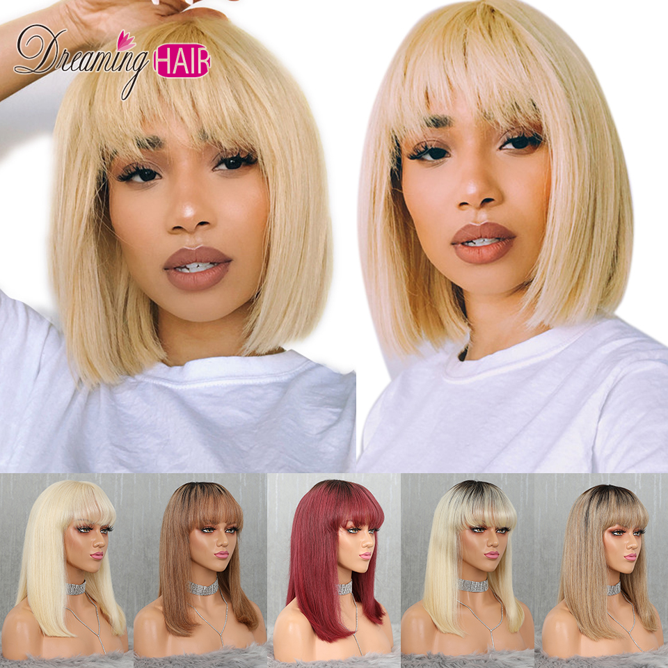 Human-Hair-Wig Wigs Bangs Short Honey-Blonde Lace-Front Transparent White Color Woman title=