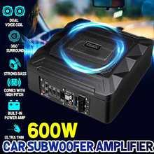12V 600W Car Active Subwoofer Audio Speaker Amplifier Ultra thin Subwoofer Bass Amplifier Auto Surround Sound Car Audio System
