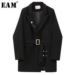 [EAM] Frauen Schwarz Unregelmäßigen Split Große Größe Blazer Neue Revers Lange Hülse Lose Fit Jacke Mode Flut Frühjahr herbst 2020 1X172