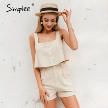 Simplee Casual two-piece women playsuits Sleeveless straps buttons female cotton rompers jumpsuit Spring summer ladies overalls