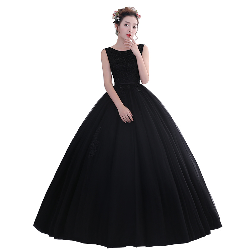 Romantic 2019 Black Quinceanera Dresses Appliques Beading Long Sweet 16 Dresses Puffy Quinceanera Gown Prom Black Ball Gowns