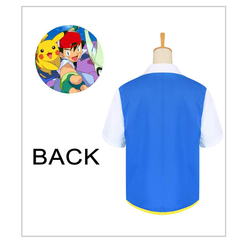 Anime Pocket Monster Cosplay Costumes Pokemon Ash Ketchum Blue Jacket Gloves Hat Ash Ketchum Cosplay Gifts For Kids Adult in Anime Costumes from Novelty Special Use