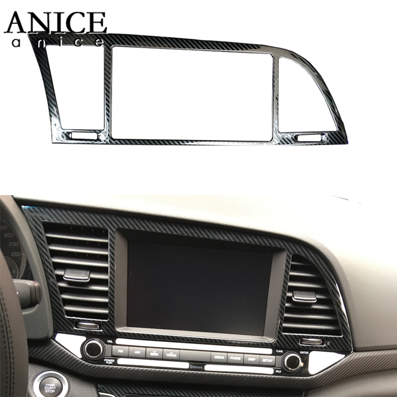 For HYUNDAI Elantra 2016-2018 Stainless Steel Carbon Fiber Color Air Conditioning Dashboard Vent Cover LHD LEFT HAND SIDE