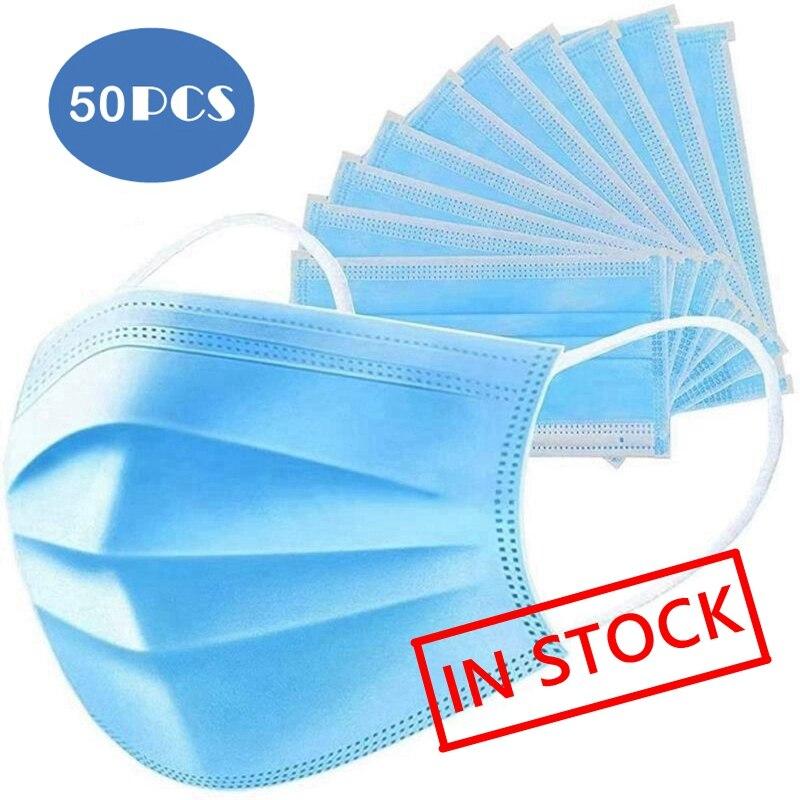 Disposable Face Masks 50PCS 3 Layer Nonwove Filter Mouth Mask 10pcs 20pcs Mascarilla Facial Anti Pollution Maske Anti Dust Maska