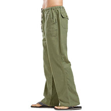 Pantalones informales de lino y algodón para hombre, ropa lisa y recta, ropa informal suelta, de verano, # w