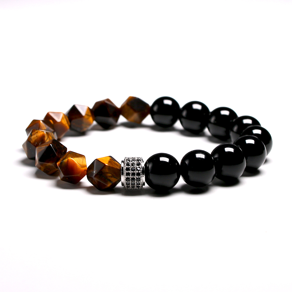 New Men Bracelet Beads Faceted Natural Tiger's eye Stone Micro Inlaid Charm CZ Bracelets 10MM Men's Gift Dropship