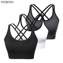 VEQKING Cross Back Sports Bras for Women,Breathable Push Up Fitness Yoga Sports Bra,Plus Size S-2XL Running Gym Workout Bra Top