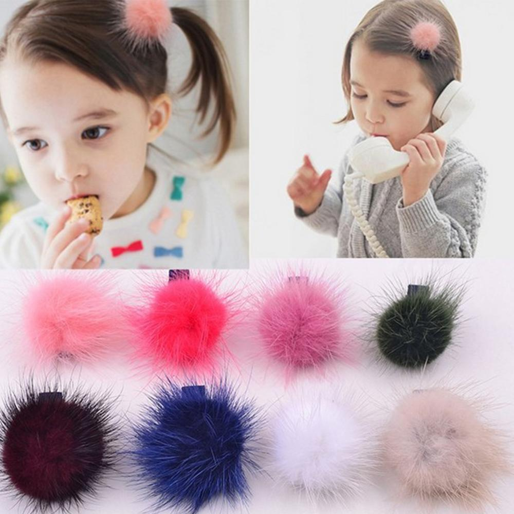 Solid Pompon Baby Hair Clips Elastic Soft Headbands For Girls Handdmade Princess  Headbnad Newborn Accessories