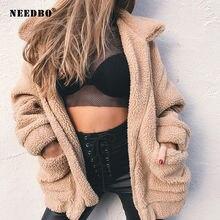 Женская зимняя куртка с флисовой подкладкой отложным воротником
