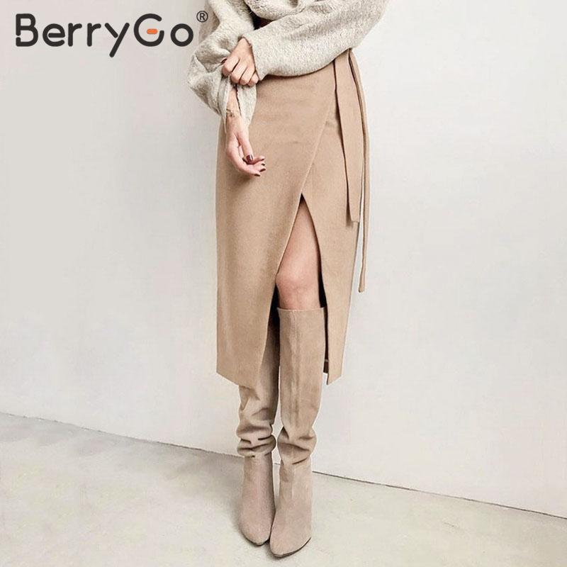 BerryGo Suede Leather Midi Skirt Women Autumn Winter High Waist Split Female Skirt Casual Streetwear Offices Lady Long Skirt
