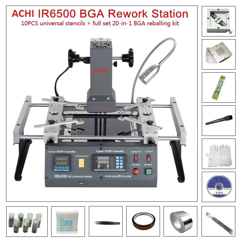 ACHI IR6500 v2 infrarot BGA Rework Maschine BGA SMD SMT entlöten Rework Station + 20 In 1 BGA Solder balls fluss Reballing Kit