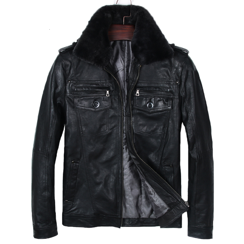 2020 New Men Genuine Leather Jacket Black Vegetable Tannin Goatskin Slim Fit Jackets Fashion Fur Collar Pocket Winter Coats