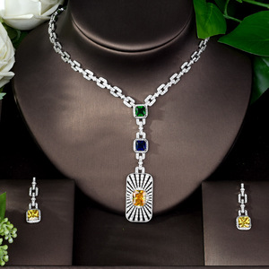 Image 2 - HIBRIDE High Quality Cubic Zirconia Bridal Jewelry Set Square Shape Nigerian Jewelry Set for Women Gift Collier Mariage N 1086