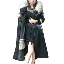 Brand Femal Overcoat 2019 New Women Winter Coat Real Fox Fur Hood Thick Rex Rabbit Liner Woman Parkas X-Long Clothing