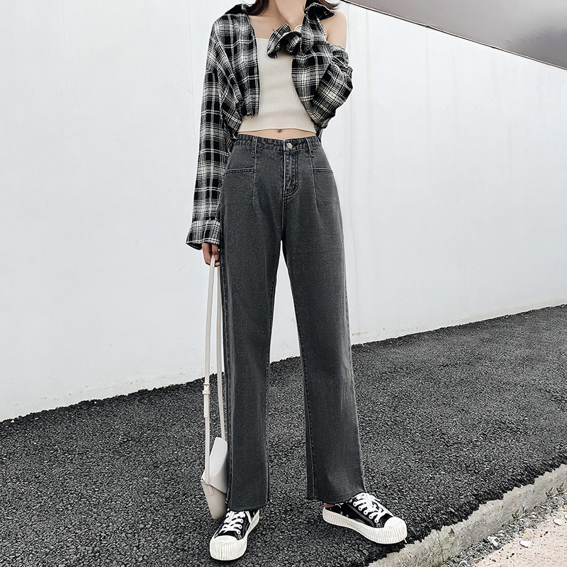 Wide     Leg     Pants   Autumn 2019 Spring Korean 3 Color Trousers Cotton straight tube loose broad-legged jeans Casual Women   Pants   165H3