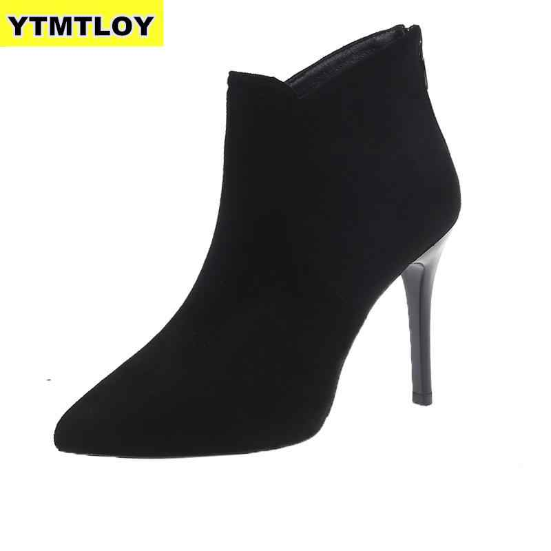 ใหม่ผู้หญิงสูงส้นแฟชั่นขนาดใหญ่หญิงรองเท้าส้นสูงสุภาพสตรี 10 ซม.รองเท้าบู๊ทข้อเท้าฤดูหนาว Zapatos de Mujer