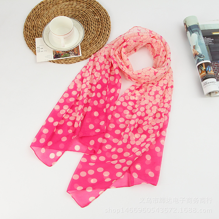 Summer Style Long Woman Silk Scarves 50*160cm Designer Polka Dots Print Female Summer Sheer Scarves