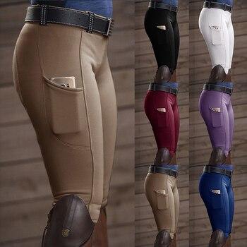 Pantalones para montar en bicicleta Skinny Horse pantalones para montar en bicicleta Legging Slim Fit lápiz apretado rodilla parche Capris pantalones para mujer|mallas deportivas|   -