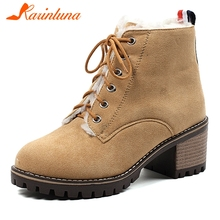купить KARINLUNA New Large Size 31-43 Women Fur Warm Winter Shoes Woman Boots Female Zip Chunky Heels Cross Tied Boots Women Shoes дешево