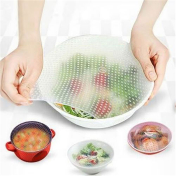 3pcs Silicone Fresh Food Grade Silica Gel Clear Plastic Wrap Reusable Food Wrap Seal Cover strech image